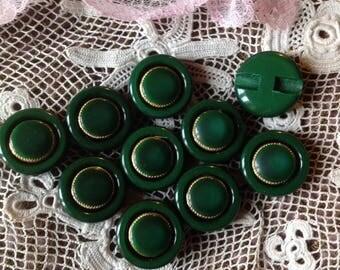 Ten vintage green buttons