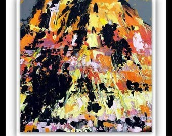 Modern art abstract painting canyon orange black yellow salmon pink 20x20 / peinture abstraite art moderne canyon noir jaune saumin rose