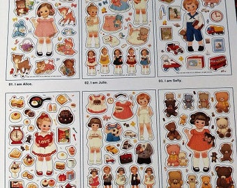 "stunning 6 boards stickers stickers ""baby doll"" vintage style"