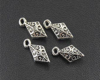 5 charms deco diamonds ethnic, silver antique, 14 * 5mm