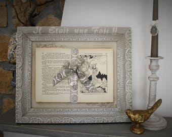 "Carved old wooden frame and book themed ""Once upon a time"""