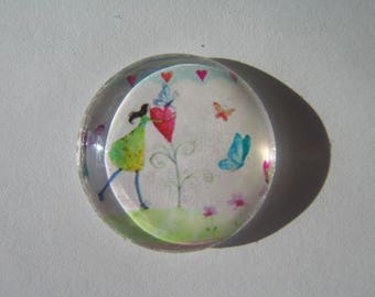 Cabochon 25 mm round domed with its colorful woman face image