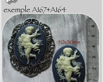 1 cameo in RELIEF Angel blue 40x30mm CABOCHON * A167