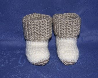 Gray and white baby crochet slippers