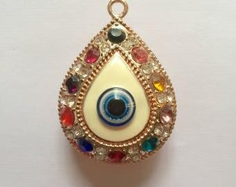 multicolored rhinestone drop pendant