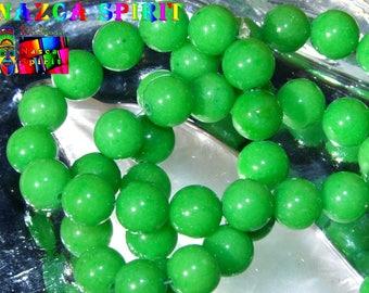 "5 beads of Jade Mashan ""Mountain Jade"" 8mm to ∅ Intense green color"