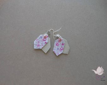 EARRINGS PINK LEATHER - 3 ROSE COLLECTION 07