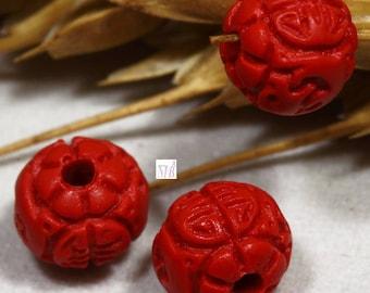 10 beads carved cinnabar red flower round 6 / 7mm