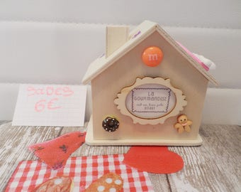 "Piggy bank wooden cottage by babou jewelry 10/10/5.5cm ""greed"" PROMO"