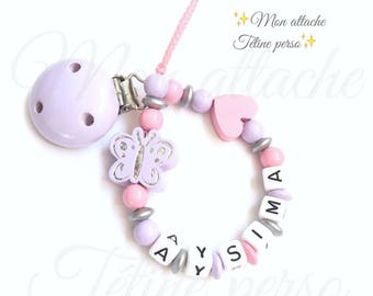 """personalized pacifier wood beads - Butterfly """"Aysima"""" model"""