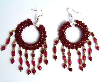 small hoop earrings with Burgundy beaded Ribbon