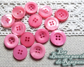 20 mm - set of 14 buttons pink simple embellishment - couture - plastic - scrapbooking