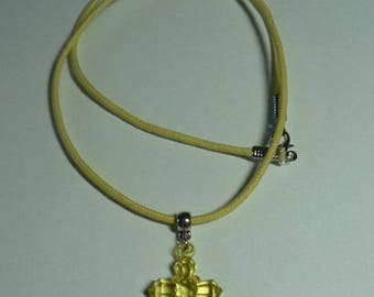 Cotton waxed yellow necklace with cross yellow transparent acrylic