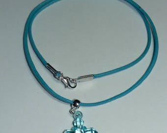 Acrylic transparent turquoise blue Cross Blue waxed cotton necklace