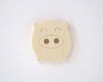 Wooden pig buttons natural 16mm set of 10 v - 001924