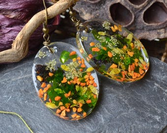 Oval earrings in resin with dried flowers, transparent jewelry, Bohemian jewelry, boho, Hand made jewellery