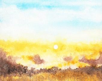 Mountain Sunrise Watercolor Print 5x5