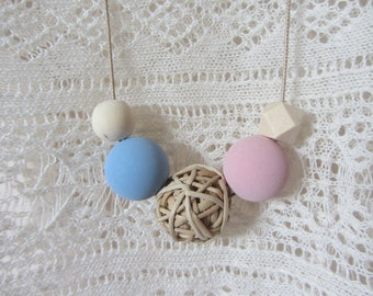 long bohemian necklace balls, wood, Wicker, large beads in pink and blue satin pastels, beige waxed cotton cord