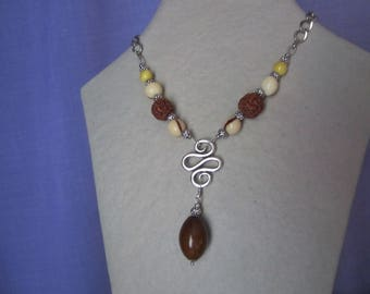 Necklace with tagua seed, shiva, bacaba and silver plated findings