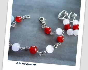 Ensemble bracelet boucles d'oreilles clips perle en cornaline véritable