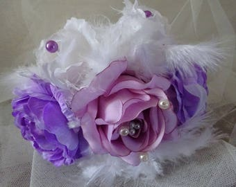 Purple and white round bridal bouquet