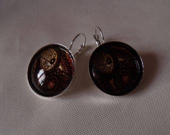 SALE earrings silver cabochon 25mm glass