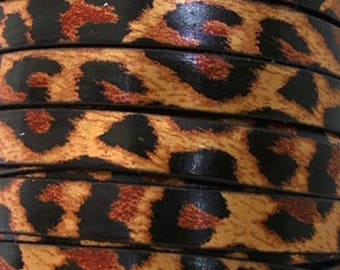 20 cm leather strap leopard flat 10 mm wide