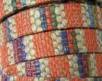 20 cm leather strap flat 10 mmms linen woven on top