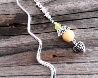 Bookmark Angel silver charm and yellow beads