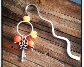 Silver charm bookmark orange beads