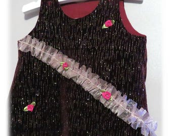 Line 3 months pinafore dress - glitter velvet fabric