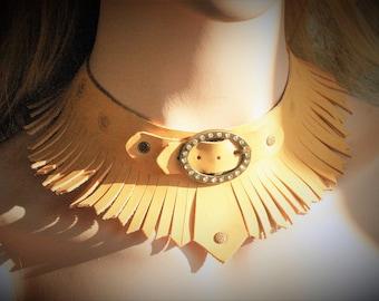 Leather necklace gypset boho fringed with rhinestone buckle one size
