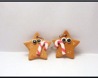 Earrings with polymer clay Christmas star.