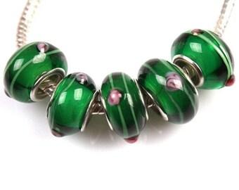 1 Pearl lampwork glass big hole green bracelet