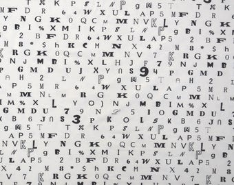 """""""Numbers and letters"""" white cotton JERSEY black"""