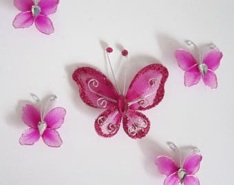 5 FUSCHIA organza with Rhinestones and glitter butterflies