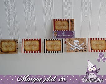 Brand square/flat x 6 - Pirate skull - pink - flowered can't