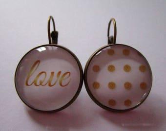 """Precious love"" earrings, bronze cabochon, costume jewelry"