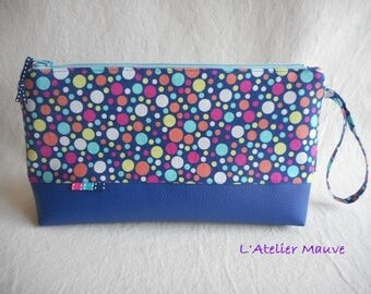 PACKAGE of vintage vanity travel cotton and blue multicolored polka dot
