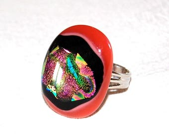 Original ring in bright pink, technology - fusing Dichroic Glass Adjustable ring