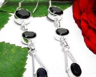 Earrings in 925 sterling silver and black onyx - hallmark