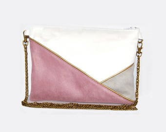Pouch, ecru, gray, pink suede shoulder bag, graphic line Golden - after the beach