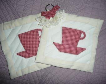 Set of 2 POTHOLDERS (potholder) lace and decorative way Patchwork