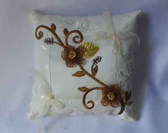 Golden brown ivory wedding pillow