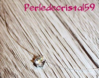 A swarovski crystal set transparent nylon cord Choker necklace