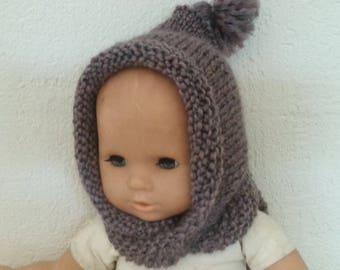Hat scarf silver Heather (0-9 months)