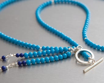 Turquoise and Lapis lariat necklace