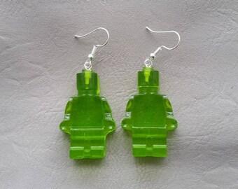 Green resin ears toy snowman earrings
