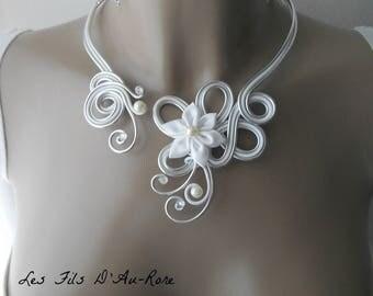 ARIELLE with satin flower wedding necklace