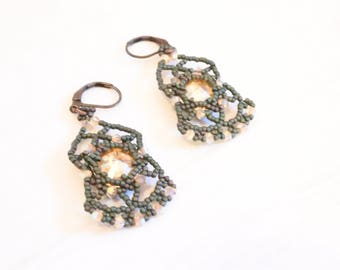 Bollywood earrings woven, sleeper, Swarovski Crystal
